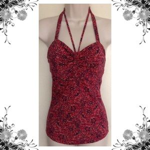 {Free People} Black/Red Floral Print Halter Top
